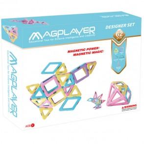 Magplayer - Set de constructie magnetic, 62 piese - Designer set